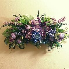 $45.99  Purple roses and hydrangeas, lavender and delphinium makes this floral wall swag come together to add just the perfect touch to highlight any room. Www.etsy.com/shop/kshandmadeflorals