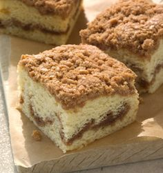 Starbucks Cinnamon Streusel Coffee Cake - Each slice has a layer of cinnamon streusel swirled within it and a crumble top that deliciously balances sweet cinnamon spice with crunchy goodness.