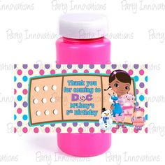 Printable Doc McStuffins Bubble Bottle Labels on Etsy, $5.00