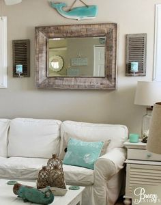 Beige and turquoise color theme.... with fun nautical beach accents such as wooden whales: http://www.completely-coastal.com/2016/02/beige-aqua-beach-decor.html