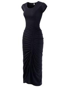 (NKWBD801) TheLees Womens Scoop Neck Shirred Cap Sleeve Stretchy Maxi Dress