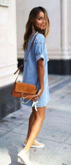 ootd: denim dress + bag
