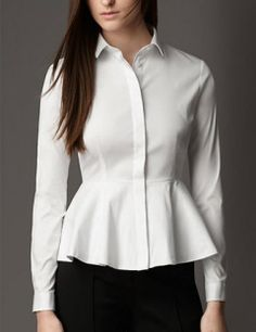 Burberry London Peplum Detail Cotton Blend Shirt