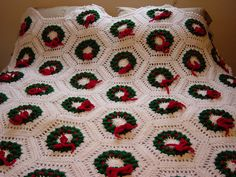 Christmas Wreath Crocheted Afghan. Inspiration only. Etsy. n/p