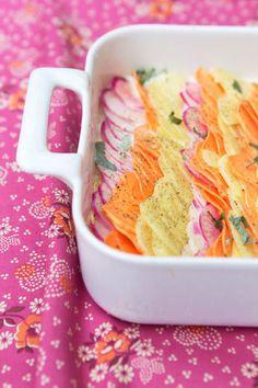 Sage-Flavored Gratin Dauphinois with Potato, Sweet Potato and Pink Turnips