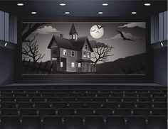 A theater showing a scary movie.