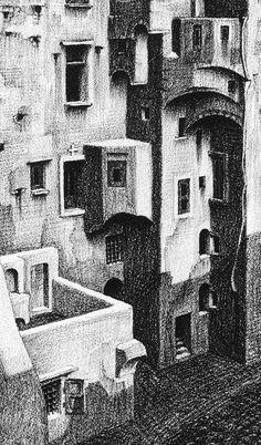 Escher, Detail (Dilapidated Houses in) Atrani, [Coast of Amalfi]. November 1931 Lithograph
