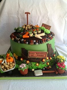 Allotment cake, great selection of veg Garden Theme Cake, Garden Cakes, Cupcakes, Cupcake Cakes, Cake Cookies, Crazy Cakes, Fancy Cakes, Beautiful Cakes, Amazing Cakes