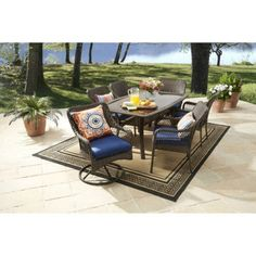 Buy Better Homes and Gardens Colebrook 7-Piece Dining Set, Blue at Walmart.com
