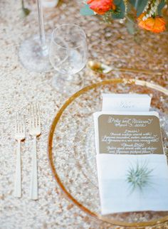 #Glam #PlaceSettings | See more of this Elopement from Jose Villa on #SMP Weddings | http://www.stylemepretty.com/2012/12/10/joshua-tree-elopement-from-jose-villa-photography-kristeen-labrot-events/
