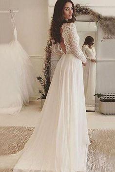 A-Line Deep V-Neck Long Sleeves Backless Ivory Chiffon Wedding Dress With Lace TN0084