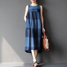 Dress - Women Summer Sleeveless Stripe Cotton Linen Dress