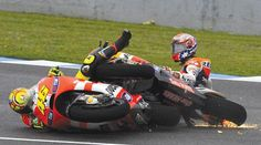 Yamaha rider Lorenzo was able to ease away to a comfortable victory in Jerez at the Moto GP in 2011 after Rossi crashed into Stoner