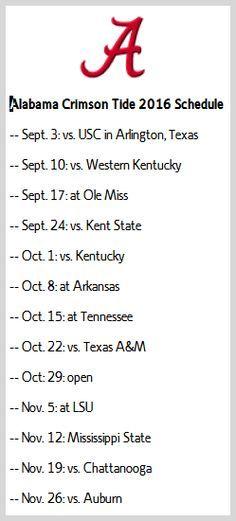 Alabama Crimson Tide 2016 schedule
