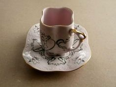 H&C, Pink Porcelain, Czechoslovakian tea cup and saucer. - http://glass-pottery.goshoppins.com/pottery-china/hc-pink-porcelain-czechoslovakian-tea-cup-and-saucer/