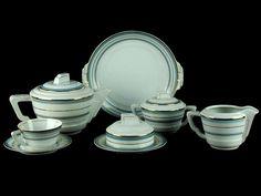 Portuguese Art deco tea set - Electro-cerâmica do candal Art Deco, Coffee Set, Sugar Bowl, Portuguese, Tea Set, Bowl Set, Portugal, Chocolate, Tableware