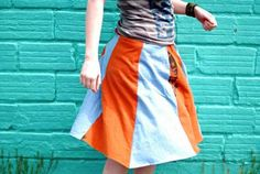 You won't need a pattern or any major sewing experience to cut two recycled T-shirts into panels and sew them into a super-simple and comfortable skirt!- tees t-shirts t shirts upcycle refashion recycled Recycled T Shirts, Old T Shirts, Tee Shirts, Diy Clothing, Sewing Clothes, T-shirt Rock, How To Make Skirt, Skirt Tutorial, Shirt Skirt