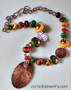 Stamped Copper and Magnesite Bead Colorful Necklace | zoraida - Jewelry on ArtFire