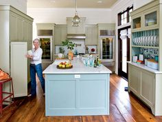 "Island: Benjamin Moore ""Wythe Blue"" (HC-143)   Cabinetry: Benjamin Moore ""Nantucket Gray"" (HC-111).  Urban Grace Interiors"