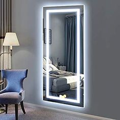 PHILWIN Large LED Full Length Backlit Mirror- Oversized Dressing Mirror with eco-friendly material-Suitable For Bedroom,Cloakroom,Locker room * Bedroom Bed Design, Room Ideas Bedroom, Home Room Design, Small Room Bedroom, Bedroom Decor, Mirror Decor Living Room, Dressing Room Mirror, Dream Rooms, Home Decor Furniture