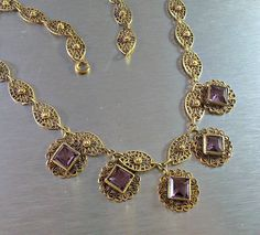 Victorian Amethyst Necklace Gilt Filigree by LynnHislopJewels