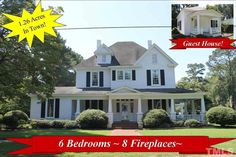 """Southern Charmer in the Heart of Friendly Kenly~Step back in time & be charmed by Original c1900 features such as WRAP Porch, 6 panel doors, 8"""" baseboards, 8 fireplaces, 9 1/2 foot ceilings w/TONS of crown molding~LOADS of Hardwood Floors~(2) 1st Floor Bdrm Suits w/full baths~Sep Living Rm & Family Rm~Sep Formal Dining~GRAND Kitchen has TONS of Cabinets & Eat @ Bar~4 Bedrms upstairs w/Little extra nooks~600sf Guest House~Wired Workshop~On Study List for Historic Registry~Conv to Hwy 301…"""