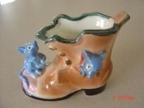 Vintage 2 Mice Who Live In A Boot Planter Marked Japan