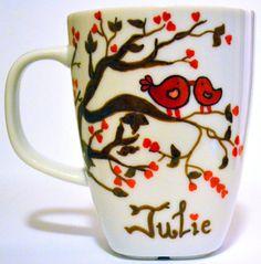 Love Birds Personalized Coffee Mug or Wedding by DreamAndCraft, $15.00