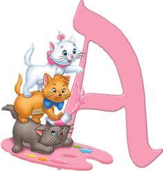 Alfabeto Decorativo: Alfabeto - Gatinha Marie - PNG