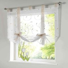 Roman shade European embroidery style tie up window curtain kitchen curtain voile sheer tab top window brand curtains cortinas Roman Curtains, Curtains With Blinds, Bathroom Curtains, Drapes Curtains, Roman Blinds, Curtains For Short Windows, Valances, Blinds Diy, Short Curtains Bedroom