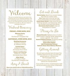 Itinerary Cards For Wedding Hotel Welcome Bag  Printed Schedule
