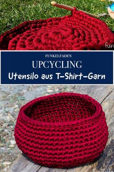 DIY Kostenlose Häkelanleitung - Utensilo aus T-Shirt-Garn häkeln Free instructions for an easy-to-crochet T-shirt yarn utensil. Fast upcycling project to tinker with T-shirts. Easy to crochet. T-shirt Au Crochet, Crochet Tools, Crochet Amigurumi, Free Crochet, Thread Crochet, Tee Shirt Fila, Tricot Simple, Tshirt Garn, Crochet T Shirts