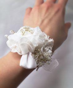c0cf4fd52fc7 Bracciale damigella floral lace corsage wedding bridal white matrimonio  sposa bianco pizzo organza perle