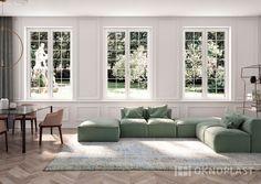 Elegant classic living room with white windows by Oknoplast. #squareline #oknoplast #windows #design #decor #home #homedecor #elegant #livingroom #classic