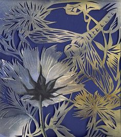 """Cosmos with dragonfly, watercolor with paper cut, 8""""x7"""" by Alfred Ng"""