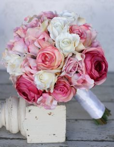 Silk Bride Bouquet Roses Shabby Chic Vintage by braggingbags, $99.00