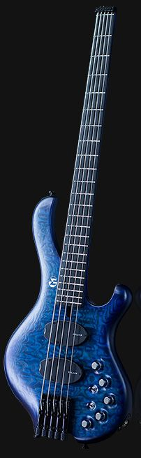 Rich blue FROG Omega 5a Headless bass from promusicianslist. Sadly the photographer didn't realize bassists / musicians would like to see the top of this stringed instrument, since it's unusual for the top to step at the nut, with tuning pegs not on a guitar head. #DdO:) - Pinned via BobNettervile.