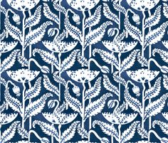 Antique Poppy in Navy fabric by sparrowsong on Spoonflower - custom fabric