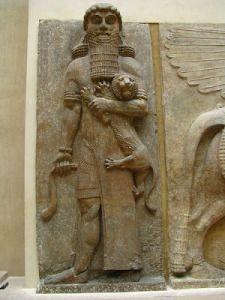 Gilgamesh wrestling lion. 720-705BCE