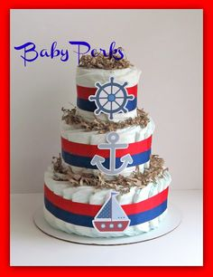 Nautical Diaper Cake, Nautical Baby Shower , Sailboat Theme, Baby Shower Decorations. $49.00, via Etsy.