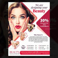Buy Beauty Salon Flyer by iamcihan on GraphicRiver. This is a Beauty Salon Flyer Template, suitable for beauty,salon,spa,wellness. Super Hair, Salon Design, Flyer Template, Brochure Template, Brochure Design, Trendy Hairstyles, Beauty Care, The Help, Skin Care