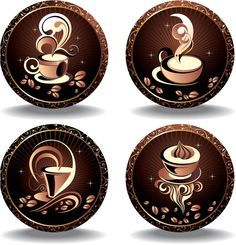 "Set of 4 vector elegant coffee labels decorated with coffee cups and beans. Can be used for your cafe menus and advertisement designs. Format: EPS or Ai stock vector clip art and illustrations. Free for download. Set name: ""Elegant coffee…"