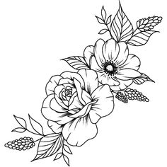 Flower Line Drawings, Flower Sketches, Floral Tattoo Design, Flower Tattoo Designs, Tattoo Flowers, Flower Designs, Floral Drawing, Flower Design Drawing, Flower Bouquet Drawing