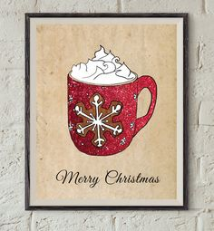 Christmas Coffee Cup - Snowflake Wall Art - Merry Christmas Printable - Winter Print - Hot Chocolate Poster - Kitchen Wall Decor - Xmas Art by Lepetitchaperon on Etsy