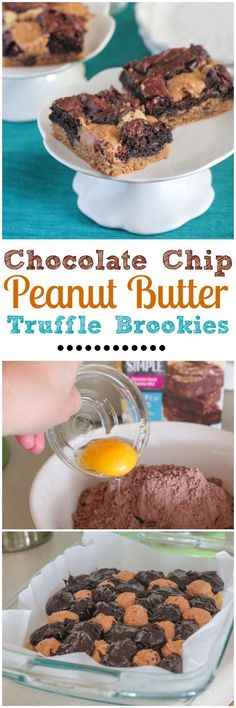 Chocolate Chip Peanut Butter Truffle Brookies.  Sweet and simple dessert for any occasion! #dessert #recipe