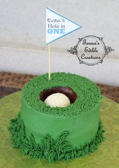 Golf hole in one smash cake itos Cake Creations (This is an affiliate link) Remain to the product at the image link. Golf Grooms Cake, Golf Birthday Cakes, Golf Themed Cakes, Sport Cakes, Occasion Cakes, Cake Creations, Creative Cakes, Cake Smash, Cupcake Cakes