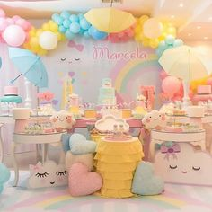 Image may contain: text Baby Girl 1st Birthday, 1st Birthday Parties, Baby Shower Themes, Baby Shower Decorations, Raindrop Baby Shower, Cloud Party, Baby Party, Unicorn Party, Birthday Decorations