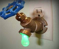 Drippy Faucet Nightlight - Created using real plumbing supplies, turning the valve acts as a light switch for the night light – lefty loosey to turn it on, right tighty to turn it off.