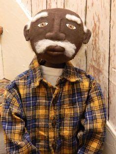 Old Black Folk Art | pRiMiTiVe Black Old Man Grandpa Doll *Artist Signed* Folk Art