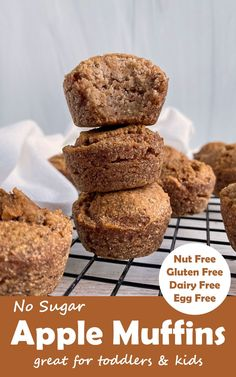 These no sugar Applesauce Muffins make a great snack for babies and toddlers. They are gluten free, Paleo, Vegan friendly and don't contain any added sugar - only sweetened with applesauce. #applemuffins #applesaucemuffins #paleo #allergyfree #kidfriendly #veganmuffins Applesauce Muffins, Apple Muffins, Vegan Muffins, Gluten Free Muffins, Nut Free, Dairy Free, Eggless Recipes, Egg Free Recipes, No Sugar Foods
